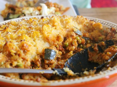 Moroccan Spiced Shepherd's Pie with a Crispy Sweet Potato Topping