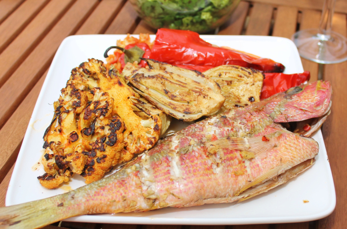 Barbecued Red Snapper with Chargrilled Cauliflower Steaks and Stuffed Peppers
