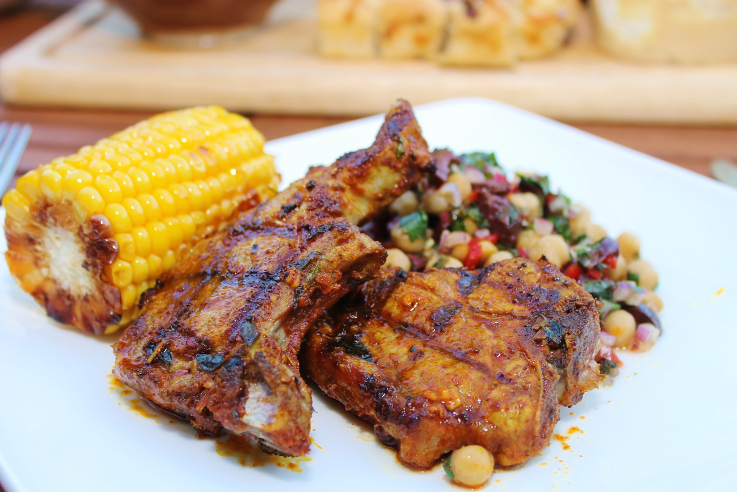 Spanish Lamb Chops with a Honey, Olive and Chickpea Salad
