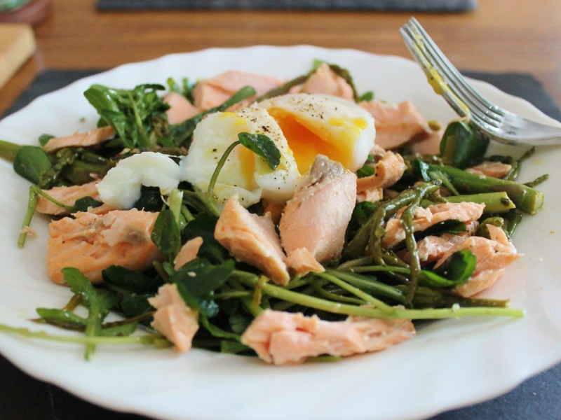 Salmon, Samphire and Asparagus Salad; Topped with a Poached Egg and a Chilli and Herb Dressing