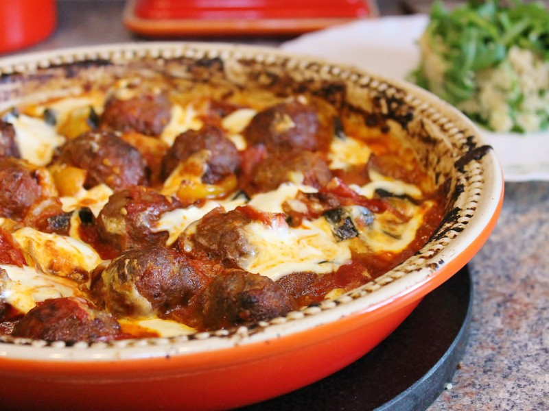 Baked Sundried Tomato Meatballs in a Roasted Vegetable Sauce