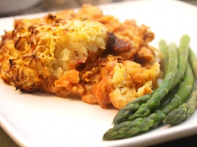 Tuna, Bean and Cheese Pie topped with Sweet Potato Mash
