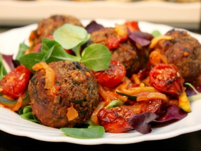 Cranberry & Walnut Vegan Balls with Courgetti Spaghetti and a Sweet Cherry Tomato Sauce