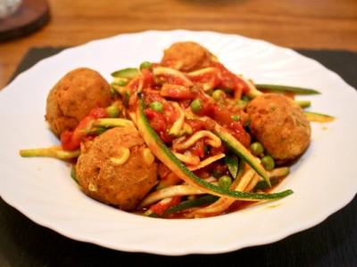 Tuna & Butter Bean Meatballs with Tomato & Pea Courgetti