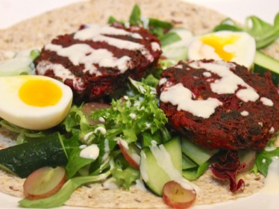 Beetroot & Horseradish Patties with a Grape and Cucumber Salad