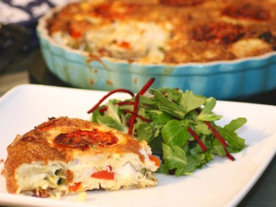 Crustless Quiche with Chorizo, Mediterranean Roasted Veg & Feta Cheese
