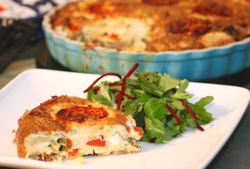 ... Crustless Quiche with Chorizo, Mediterranean Roasted Veg & Feta Cheese