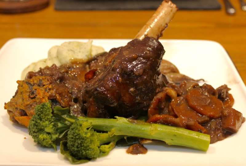 Succulent Red Wine Lamb Shanks with Squash and Walnut Stuffing and Colcannon Mash
