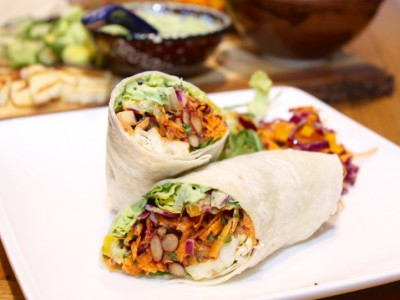 Grilled Halloumi Fajitas with Yellow Pepper Slaw, Spicy Beans and Avocado Mayonnaise