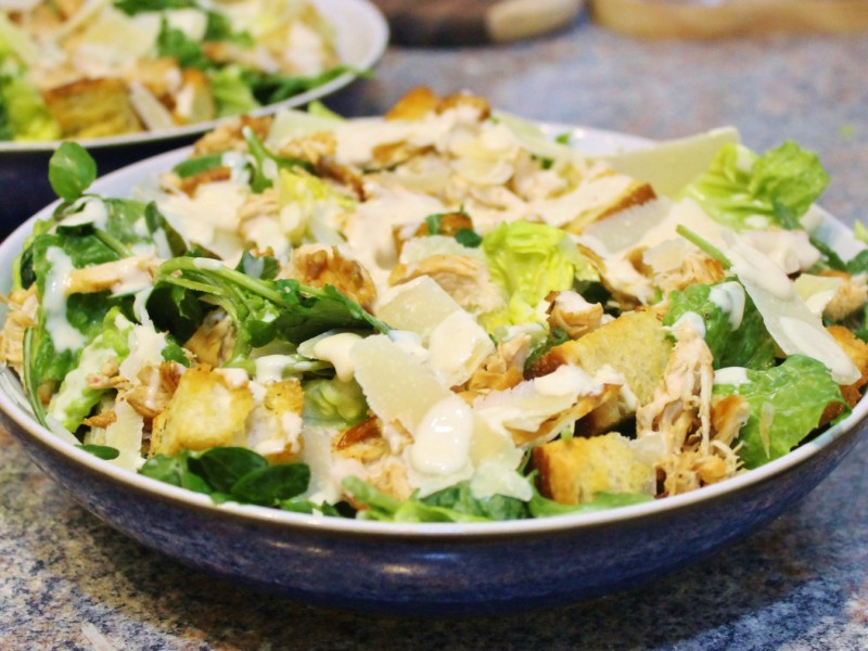 Lighter Roasted Chicken Caesar Salad with Truffle Croutons