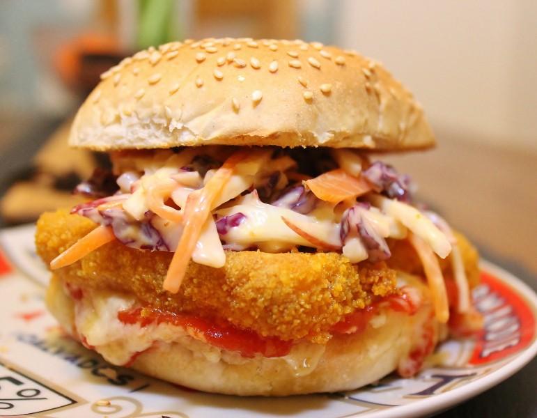 Cod Goujon Butty (aka Posh Fish Fingers) with Celeriac Slaw and Cheesy Ketchup Toast