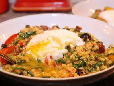 Chorizo, Sundried Tomato, Parmesan and Olive Risotto; Topped with a Runny Poached Egg