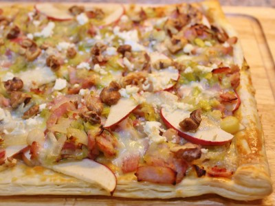 Smokey Bacon & Gorgonzola Puff Pastry Tart, with Caramelised Leeks, Apple and Walnuts