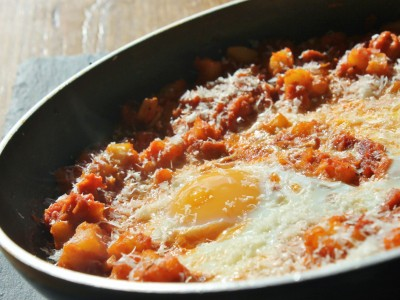 Breakfast Eggs with Chorizo, Potato and Rich Tomatoes