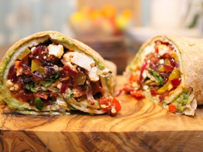 Layered Omelette Wraps Stuffed with Chorizo, Peppers, Feta Cheese and Pea Guacamole