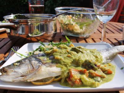 Barbecued Thai Sea bass with Grilled Green Vegetable Thai Curry Sauce