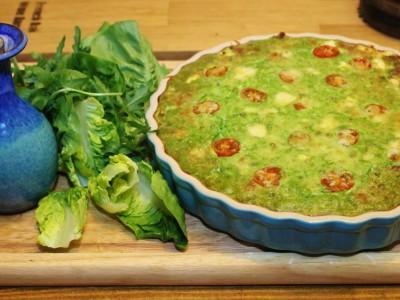 Duck Egg, Watercress and Feta Crust-less Quiche