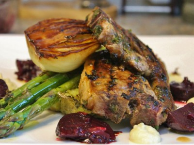 Sticky Lamb Chops with Pickled Beets, Minty Jersey Royals and Cauliflower Puree