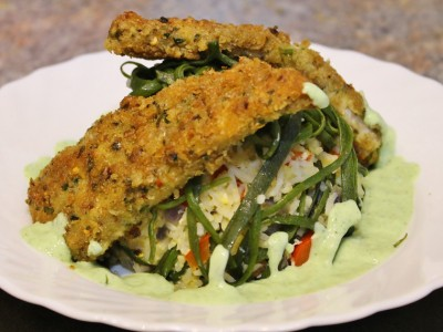 Spicy Fish Goujons with a Seaweed Rice Salad