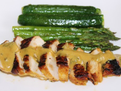 Lemon, Mustard and Honey Chicken Breast with Roasted Truffle Greens
