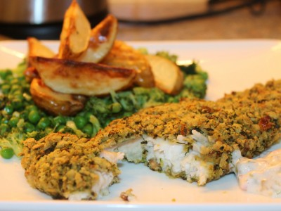 Herb Baked Fish and Chips with Minty Greens and Crunchy Caper Mayonnaise