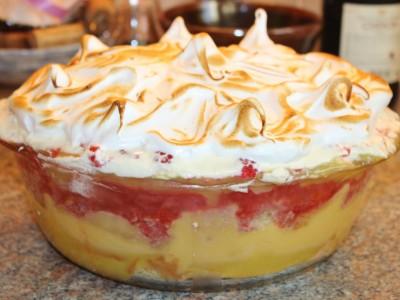 Raspberry, Coconut & Lemon Meringue Trifle
