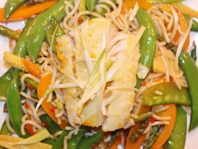 Citrus Ginger Steamed Cod with Stir Fried Noodles