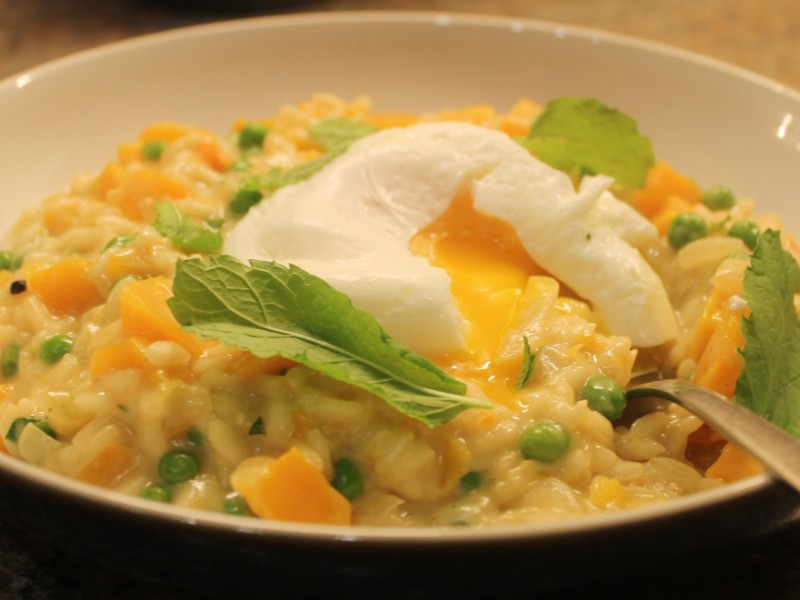 Pumpkin, Cider and Pea Risotto Topped with a Poached Egg
