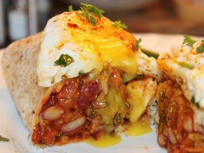 Chorizo, Halloumi and Vegetable Chilli Burritos Topped with a Fried Egg and Coriander Mayonnaise