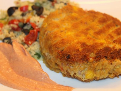 Tuna & Sweetcorn Patties with Mega Mediterranean Cous Cous and Paprika Mayonnaise