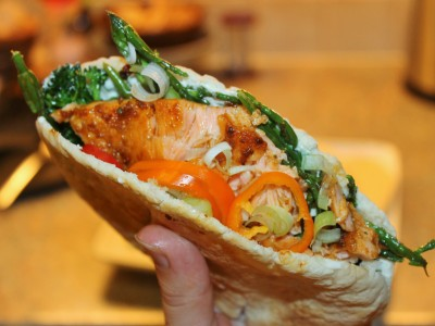 Cajun Salmon Pitas with Ginger Stir-Fried Vegetables and Zingy Crème Fresh