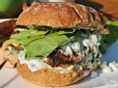 Moroccan Minted Lamb Burgers with Feta and Cucumber Yoghurt and Houmous