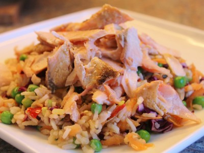Light and Summery Thai Brown Rice and Salmon Salad with a Yoghurt and Herb Dressing