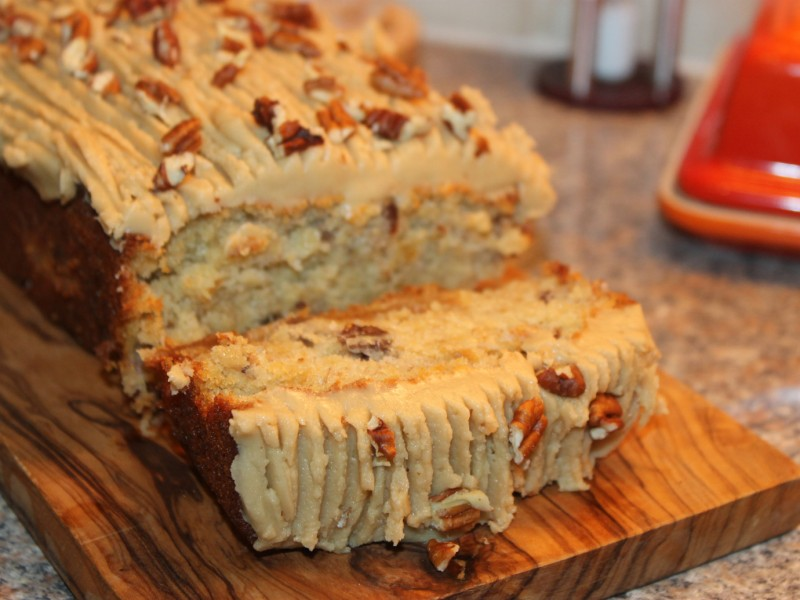 Banana, Toffee and Pecan Loaf with Salted Caramel Icing