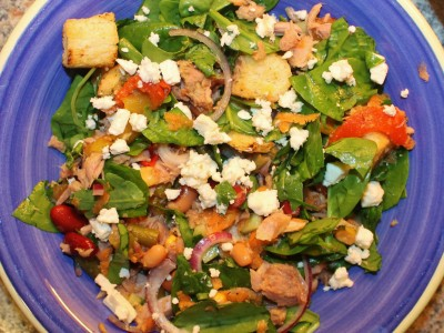 Tuna, Mixed Bean and Feta Cheese Salad with Chilli Croutons