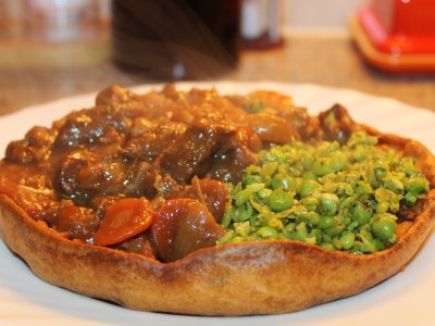 Slow Cooked Lamb & Root Vegetable Stew, in a Minty Yorkshire Pudding Bowl
