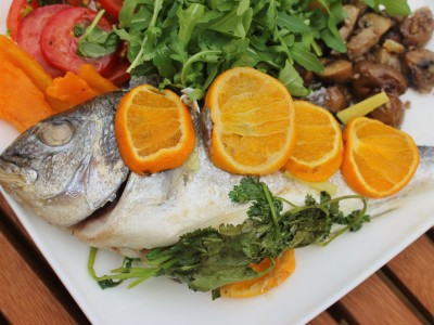 Barbecued Clementine and Ginger Sea Bream