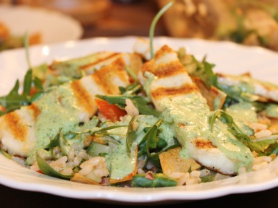 Spicy Brown Rice and Halloumi Salad with a Mint and Cucumber Cream Dressing