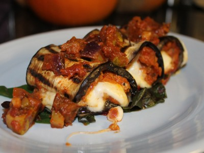 Sweet Sausage and Mozzarella Aubergine Roll Ups, Topped with Ratatouille