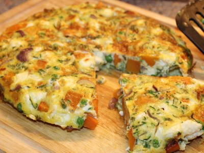 Butternut Squash, Pea, Mint and Feta Frittata