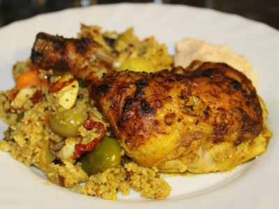 Moroccan Spiced Chicken Legs with Olive, Sundried Tomato and Halloumi Couscous