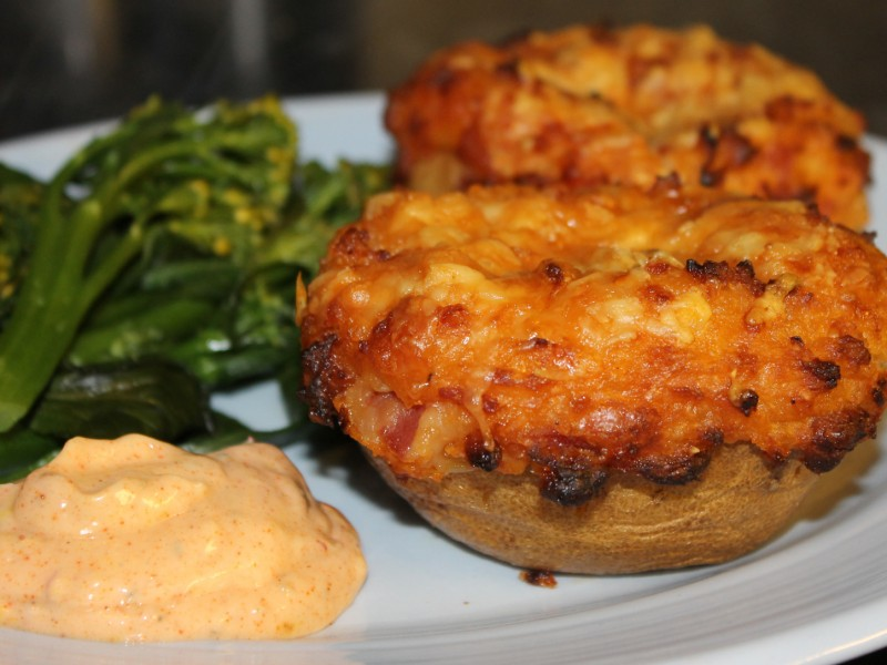 Bacon and Bean, Cheesy Loaded Potato Skins with Paprika and Garlic Mayonnaise