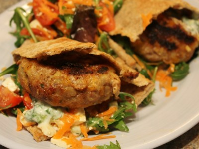 Pork, Ginger and Apricot Burgers, in Toasted Pita's with Tzatziki and Feta Cheese Salad