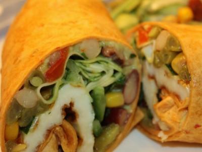 Halloumi, Mixed Bean and Avocado Wraps