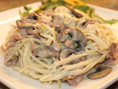 Homemade Bacon and Mushroom Carbonara