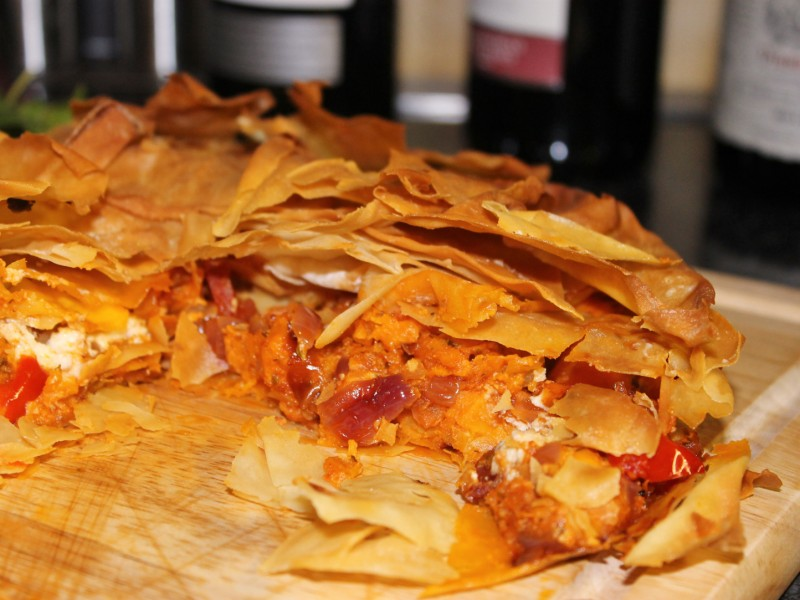 Chorizo, Goats Cheese and Sweet Potato Filo Tart