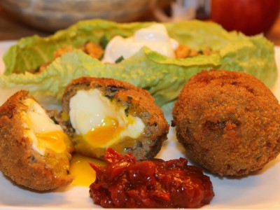 Minted Lamb Scotch Eggs with Red Wine Chutney