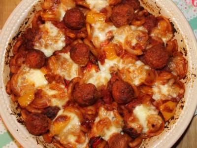 Tomato Sausage Meatball Bake