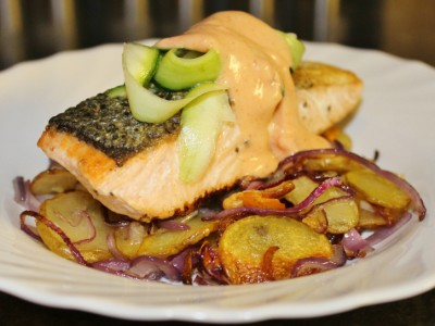 Salmon Steaks with Crispy Fried Potatoes, Courgette Ribbons and Tomato and Paprika Mayonnaise