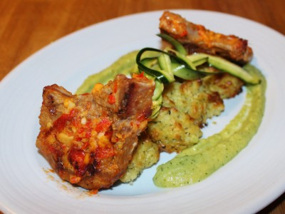 Chilli and Ginger Lamb Chops with Minted Duchess Potatoes and Courgette Puree